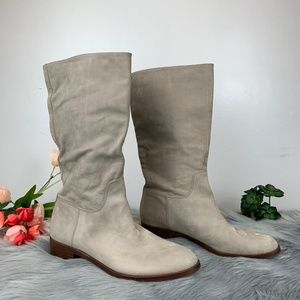 Via Spiga Jules Nubuck Taupe Leather Slouch Boots